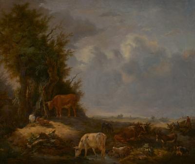 19th C Romanticism Landscape Karel De San Cattle at the Waterhole