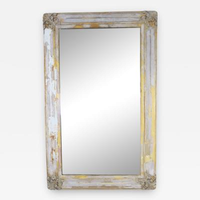 19th C Swedish Painted Mirror w Carved Corners