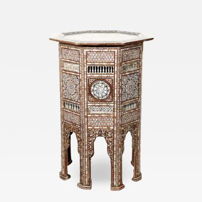 19th C antique Syrian Moorish Mother of Pearl Inlay Pedestal Tables