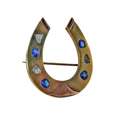 19th Cent Diamond Sapphire Gold Horseshoe Pin Brooch Possibly Dutch C 1870