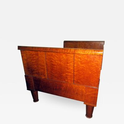 19th Century American Birds Eye and Tiger Maple Sleigh Bed