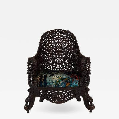19th Century Anglo Indian Carved Rosewood Chair