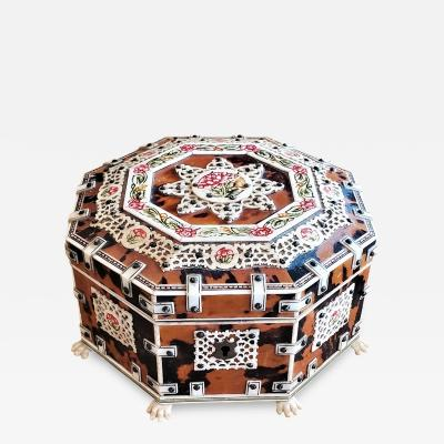 19th Century Anglo Indian Octagonal Shell and Bone Jewelry Box