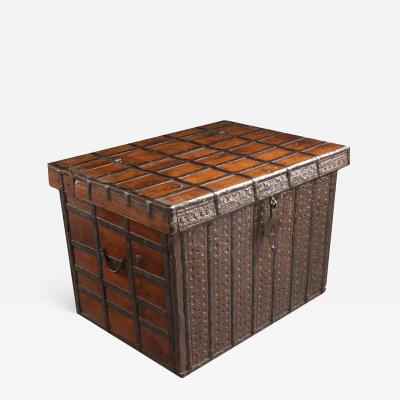 19th Century Anglo Indian Teak and Iron Trunk
