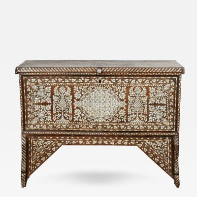 19th Century Antique Syrian Mother of Pearl Inlay Wedding Trunk