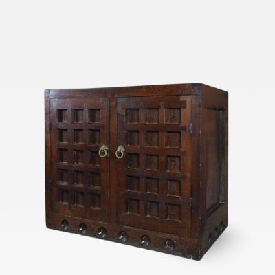 19th Century Arts Crafts Medieval Style Oak Cabinet