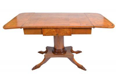 19th Century Biedermeier Period Drop Leaf Walnut Table