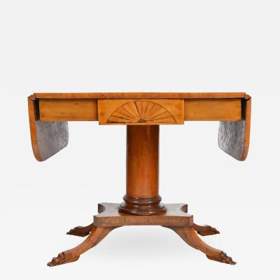 19th Century Biedermeier Period Drop Leaf Walnut Table
