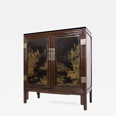 19th Century Black and Gold Marble Top Cabinet