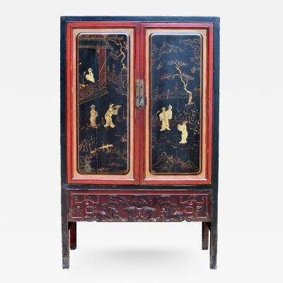 19th Century Black and Red Cabinet Painted Carved