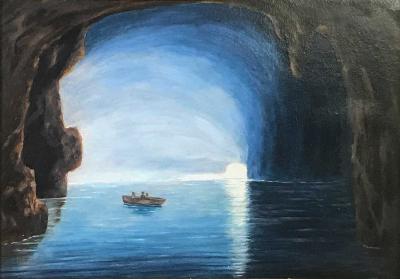19th Century Blue Girotto Capri Italy Unsigned