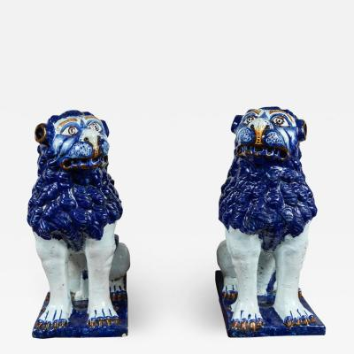 19th Century Blue and White Foo Dogs