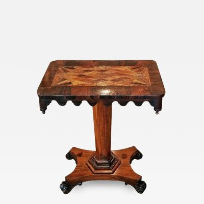 19th Century British William IV Colonial Specimen Wood Side Table Important