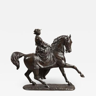 19th Century Bronze Equestrian Statue of the Young Queen Victoria