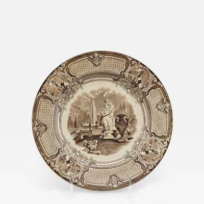 19th Century Brown and White Corrella Transfer Ware Plate