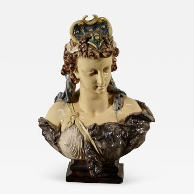 19th Century Bust in Majolica