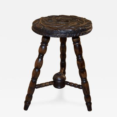 19th Century Carved Oak Stool