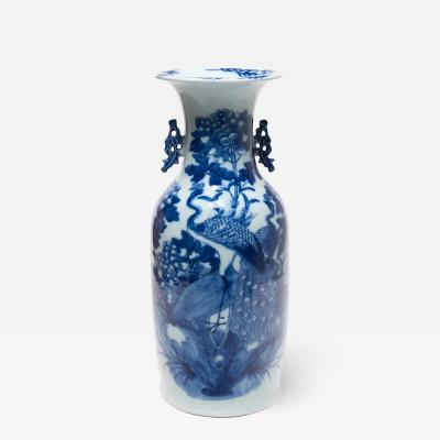 19th Century Chinese Blue and White Peacock Fantail Vase