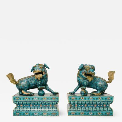 19th Century Chinese Cloisonn Fu Dogs