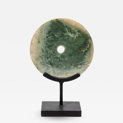 19th Century Chinese Clouded Jade Bi Disc