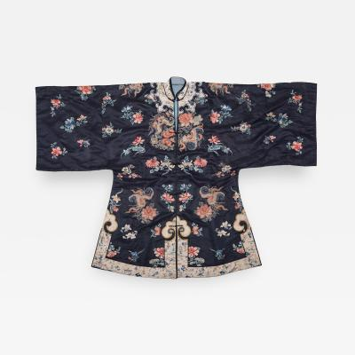 19th Century Chinese Embroidered Silk Ladys Butterfly Short Robe