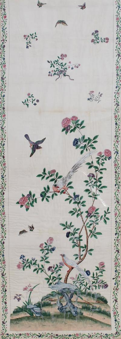 19th Century Chinese Export Painting Wallpaper Framed
