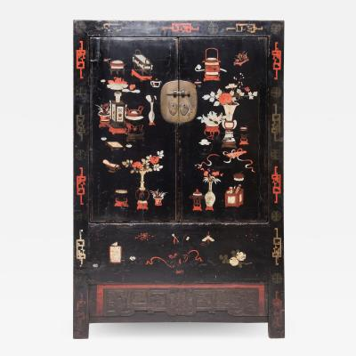 19th Century Chinese Painted Scholars Cabinet