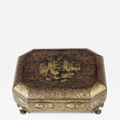 19th Century Chinoiserie Lacquer Jewelry Box