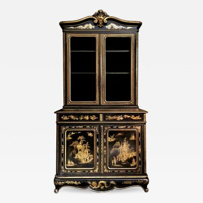 19th Century Chinoiserie Parcel Gilt Bookcase and Cabinet