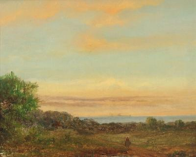 19th Century Danish Landscape with Woman