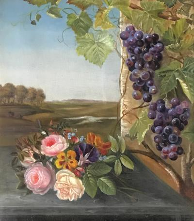 19th Century Danish School Still Life Flowers Grapes Unsigned