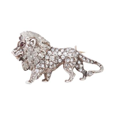 19th Century Diamond Lion Brooch in Platinum