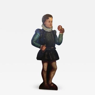 19th Century Dummy Board Hand Painted Figure of English Elizabethan Boy