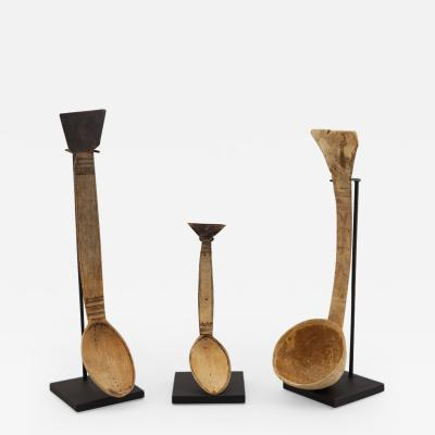 19th Century Dutch Hand Carved Wood Spoons on Stand