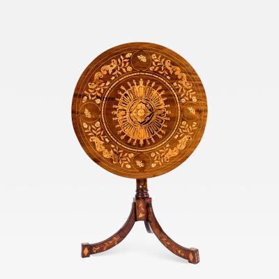 19th Century Dutch Marquetry Inlaid Tilt Table