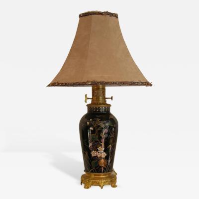 19th Century Elegant French Hand Painted Porcelain Lamp on Ormolu Base