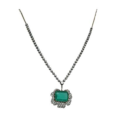 19th Century Emerald Diamond Necklace