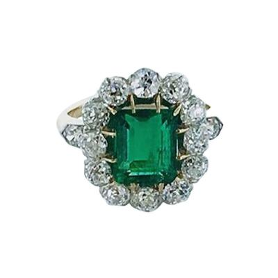 19th Century Emerald Diamond Platinum Gold Ring