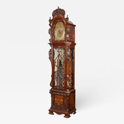 19th Century English Carved Mahogany Longcase Clock