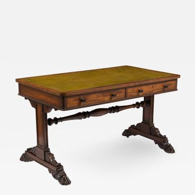 19th Century English Empire Style Leather Top Desk