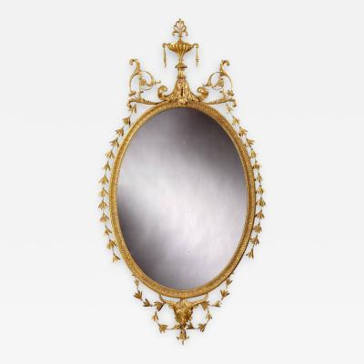 19th Century English Giltwood Oval Mirror in the Neoclassical Style