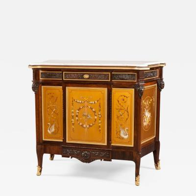 19th Century English Gold Polychrome Paneled Side Cabinet