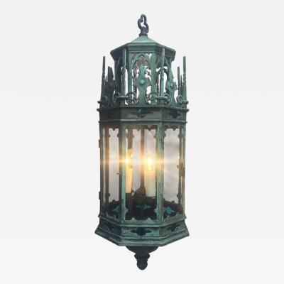 19th Century English Gothic Revival Bronze Lantern Chandelier
