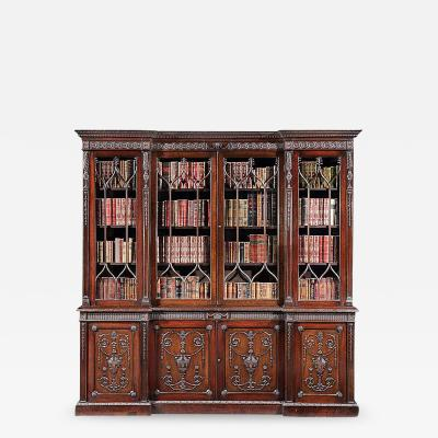 19th Century English Mahogany Four Door Bookcase in the Neoclassical Manner