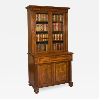 19th Century English Mahogany Writing Bookcase with Cabinet