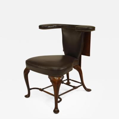 19th Century English Queen Anne Style Leather Upholstered Reading Chair