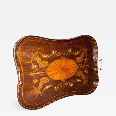 19th Century English Regency Mahogany Tray with Fruitwood Inlay