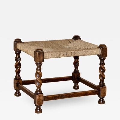 19th Century English Stool with Woven Top