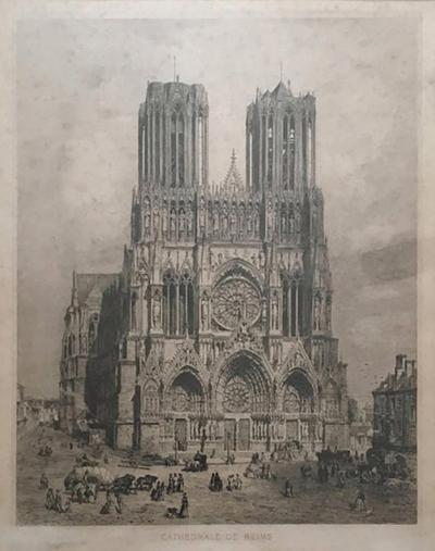 19th Century Engraving of Cathedrale de Reims