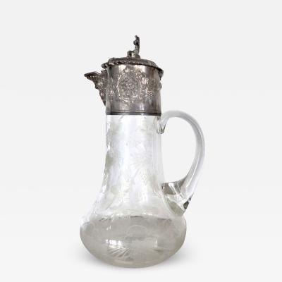 19th Century Etched and Cut Crystal Claret Jug with Repousse Sterling Silver